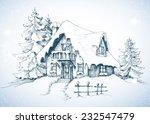 winter idyllic landscape  pine... | Shutterstock .eps vector #232547479