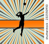 Volleyball Woman Player Vector...