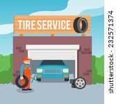 tire wheel service shop garage... | Shutterstock .eps vector #232571374