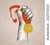 hand holding golden medal... | Shutterstock .eps vector #232572010