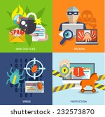 hacker flat icons set with... | Shutterstock .eps vector #232573870