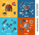 motorcycle parts flat icon set... | Shutterstock .eps vector #232573969
