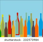 Background With Bottles Vector...