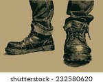 boots and jeans. engraving... | Shutterstock .eps vector #232580620