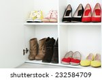 collection of shoes on shelves | Shutterstock . vector #232584709