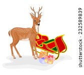 christmas reindeer with santa's ... | Shutterstock .eps vector #232589839