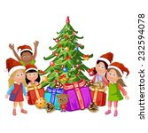 christmas tree and happy kids  | Shutterstock .eps vector #232594078