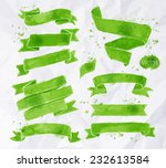 watercolors ribbons in green... | Shutterstock .eps vector #232613584