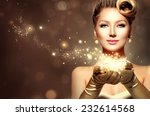 holiday retro woman with magic... | Shutterstock . vector #232614568