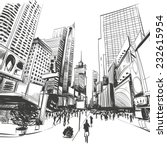 city hand drawn  vector... | Shutterstock .eps vector #232615954