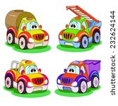 four cartoon funny cars  lorry  ... | Shutterstock .eps vector #232624144