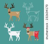 Set Of Christmas Reindeer In...