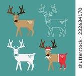 Set Of Christmas Reindeer In...