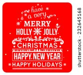 merry christmas card wishes ... | Shutterstock .eps vector #232645168