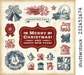 vintage christmas set. fully... | Shutterstock .eps vector #232652674