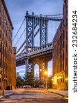 Cityscape Of Manhattan Bridge...
