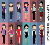 set of people icons in flat... | Shutterstock .eps vector #232736596