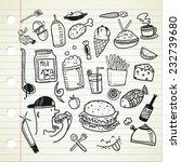 food and beverage doodle | Shutterstock .eps vector #232739680