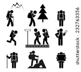 black silhouettes of tourists... | Shutterstock .eps vector #232763356