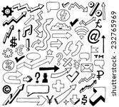 doodle signs  icons and arrows... | Shutterstock .eps vector #232765969