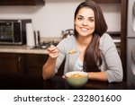 happy young latin woman...   Shutterstock . vector #232801600