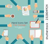 Flat Design Of Hand Icons Set....