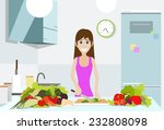 woman cook kitchen  young girl... | Shutterstock .eps vector #232808098