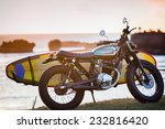 motorcycle with surfboard at... | Shutterstock . vector #232816420