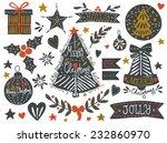 Christmas Sketchy Set. Eps 10....
