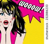 pop art woman wow sign. vector... | Shutterstock .eps vector #232886233