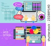 flat design concept of program... | Shutterstock .eps vector #232889140