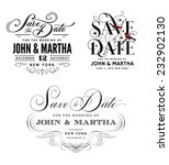 save the date vintage templates | Shutterstock .eps vector #232902130