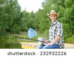 handsome young man sitting on... | Shutterstock . vector #232932226