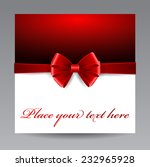 greeting card with red bow   Shutterstock .eps vector #232965928