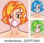 pop art girl and gumball | Shutterstock .eps vector #232971364