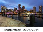 Stock photo boston financial district at sunset boston massachusetts usa 232979344