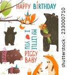 birthday card with forest... | Shutterstock .eps vector #233000710