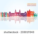 Amsterdam Skyline. Vector...