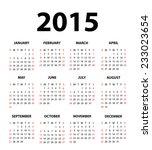 2015 calendar  vector | Shutterstock .eps vector #233023654