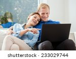 view of couple in love using... | Shutterstock . vector #233029744