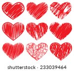 hand drawn red hearts set....