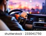 Driving A Car At Night  Man...
