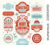 christmas typographic and... | Shutterstock .eps vector #233053450