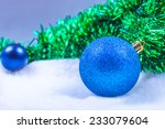 photo of blue christmas balls | Shutterstock . vector #233079604