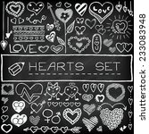 doodle set of hearts and arrows ... | Shutterstock .eps vector #233083948