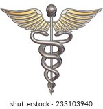 silver caduceus isolated on... | Shutterstock . vector #233103940