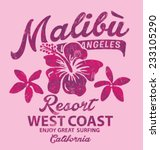 malibu surfing with hibiscus  ... | Shutterstock .eps vector #233105290