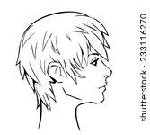 short haired woman profile | Shutterstock .eps vector #233116270