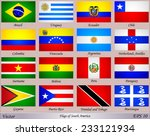 flags of south america with... | Shutterstock .eps vector #233121934