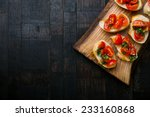 italian canapes set on vintage... | Shutterstock . vector #233160868